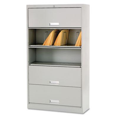 600 Series Five-Shelf Steel Receding Door File, 36w x 13-3/4d x