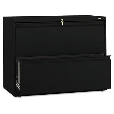 800 Series Two-Drawer Lateral File, 36w x 19-1/4d x 28-3/8h, Bla