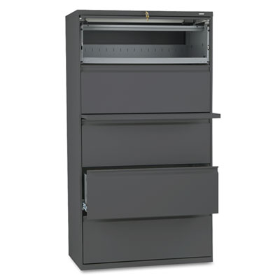 800 Series Five-Drawer Lateral File, Roll-Out/Posting Shelves, 3