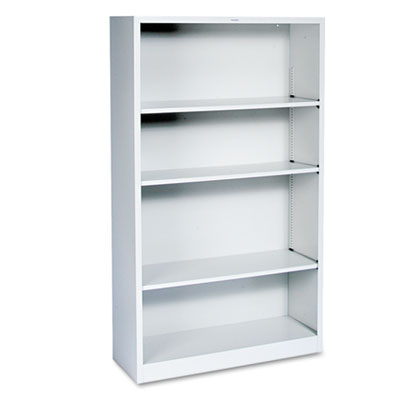 Metal Bookcase, Four-Shelf, 34-1/2w x 12-5/8d x 59h, Light Gray