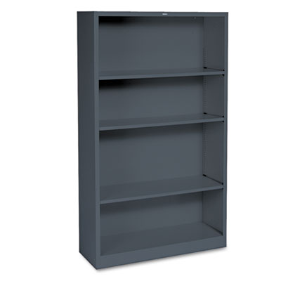 Metal Bookcase, Four-Shelf, 34-1/2w x 12-5/8d x 59h, Charcoal