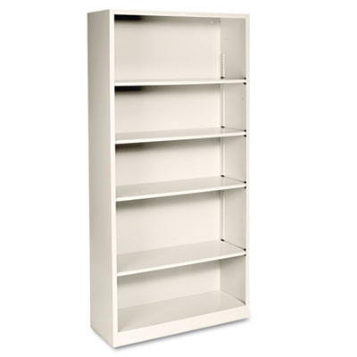 Metal Bookcase, Five-Shelf, 34-1/2w x 12-5/8d x 71h, Putty