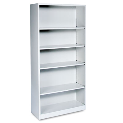 Metal Bookcase, Five-Shelf, 34-1/2w x 12-5/8d x 71h, Light Gray