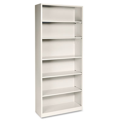 Metal Bookcase, Six-Shelf, 34-1/2w x 12-5/8d x 81-1/8h, Putty