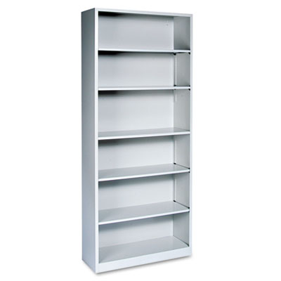Metal Bookcase, Six-Shelf, 34-1/2w x 12-5/8d x 81-1/8h, Light Gr