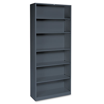 Metal Bookcase, Six-Shelf, 34-1/2w x 12-5/8d x 81-1/8h, Charcoal