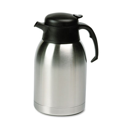 Stainless Steel Lined Vacuum Carafe, 1.9L, Satin Finish/Black Tr