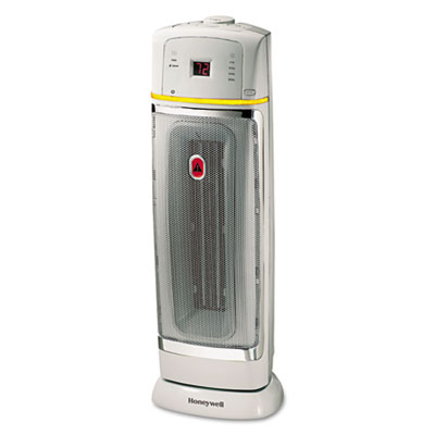 1500W Oscillating Ceramic Heater, 9 3/8 x 9 1/2 x 22 3/4, Chrome