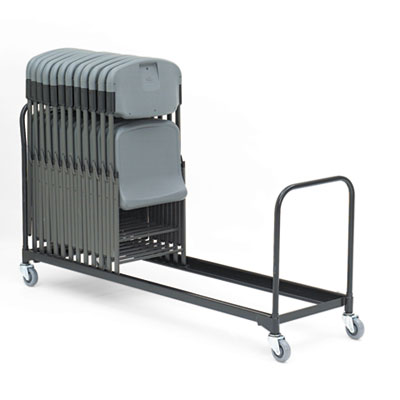 "Folding Chair Cart, 34-Chair Capacity, 21"" x 8 ft, Black"