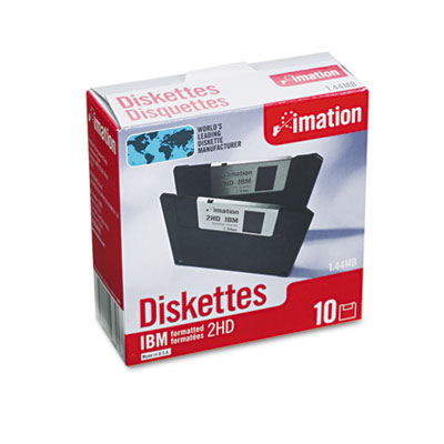 "3.5"" Floppy Diskettes, IBM-Formatted, DS/HD, 10/Box"