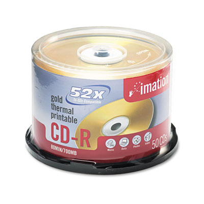 CD-R Discs, 700MB/80min, 52x, Spindle, Gold, 50/Pack