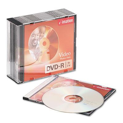 DVD-R Discs, 4.7GB, 16x, Slim Jewel Cases, Silver, 10/Pack