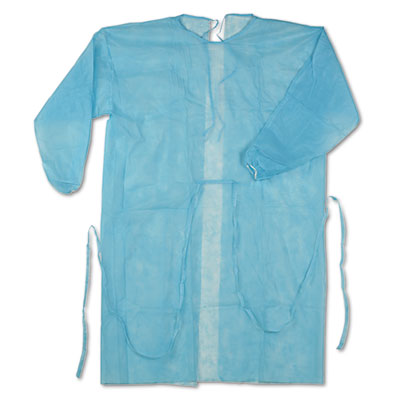 Isolation Gown, Spun-Bonded Polypropylene, Blue, 50/Carton