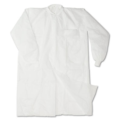 Disposable Lab Coats, Spun-Bonded Polypropylene, Large, White, 3