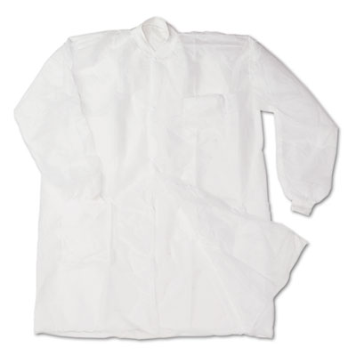 Disposable Lab Coats, Spun-Bonded Polypropylene, XL, White, 30/C