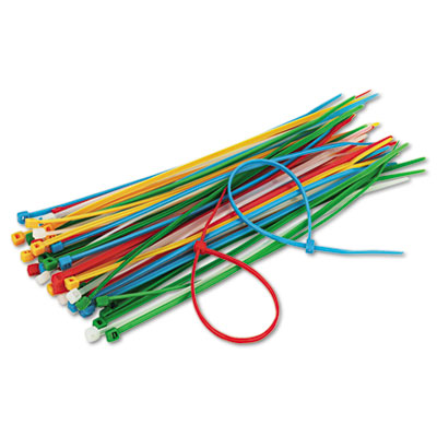 """Cable Ties, 6-3/8"""" Length, Assorted Colors, 50 Ties/Pack"""