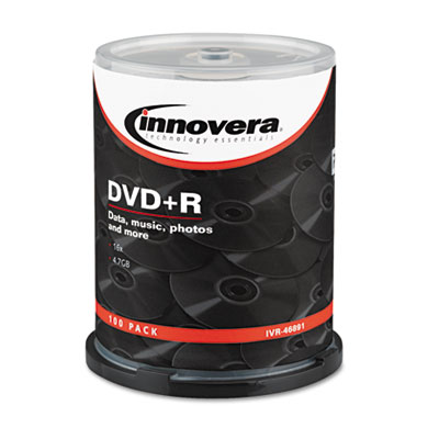 DVD+R Discs, 4.7GB, 16x, Spindle, Silver, 100/Pack
