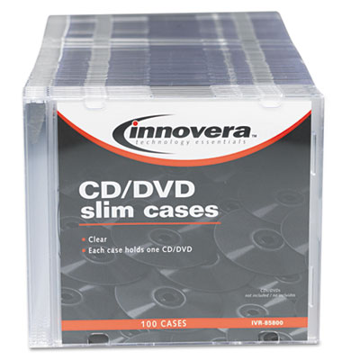 CD/DVD Polystyrene Thin Line Storage Case, Clear, 100/Pack