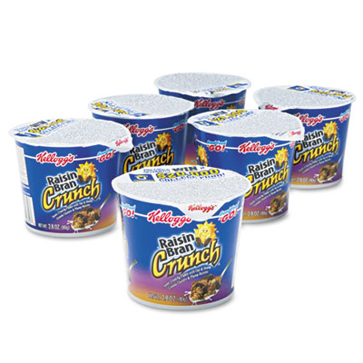 Breakfast Cereal, Raisin Bran Crunch, Single-Serve 2.8oz Cup, 6/