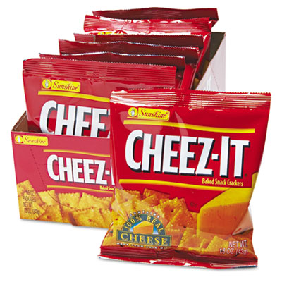 Cheez-It Crackers, 1.5oz Single-Serving Snack Pack, 8/Box