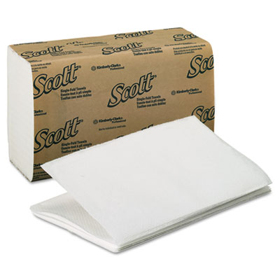 SCOTT 1 Fold Paper Towels, 9 3/10 x 10 1/2, White, 250/Pack, 16