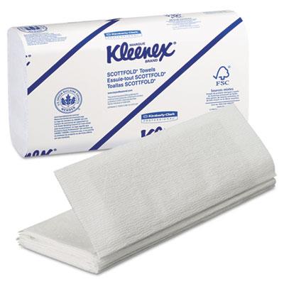 KLEENEX SCOTTFOLD Paper Towels, 9 2/5 x 12 2/5, White, 120/Pack,