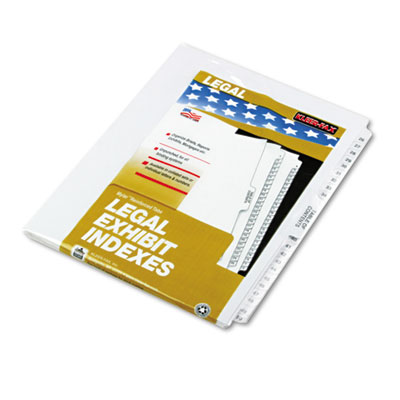 80000 Series Legal Exhibit Index Dividers, 1/25 Cut Tabs, Printe
