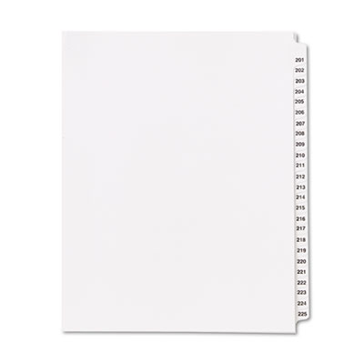 "80000 Series Legal Index Divider Set, Side Tabs, Printed ""201""-"""