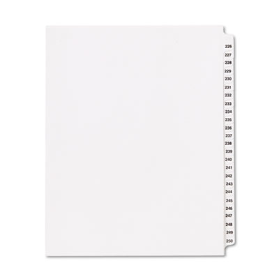 "80000 Series Legal Index Divider Set, Side Tabs, Printed ""226""-"""