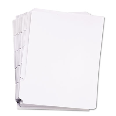 80000 Series Blank 1/5-Tab Divider Set, Unpunched, Letter, White
