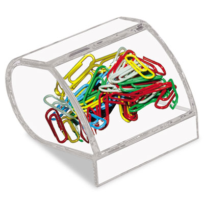 Paper Clip Holder, Acrylic, 3 x 2 3/4 x 3 1/2, Clear