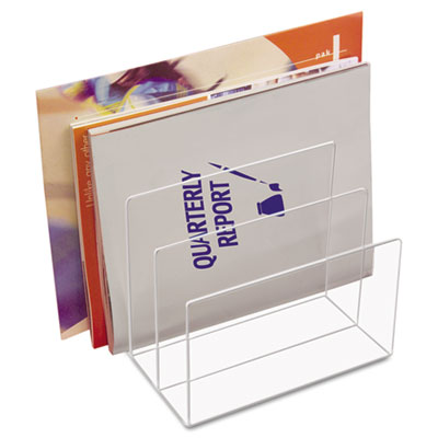 Clear Acrylic Desk File, Three Sections, 8 x 6 1/2 x 7 1/2, Clea