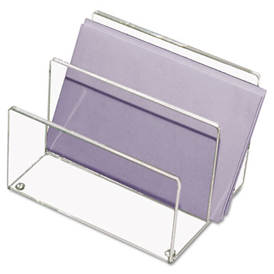 Mini Sorter, Two Sections, Acrylic, 4 1/8w x 6 1/4d x 4h, Clear