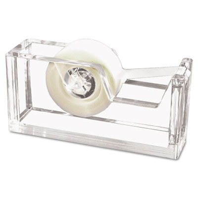 "Desktop Tape Dispenser, 1"" Core, Heavy Cast Acrylic, Clear"
