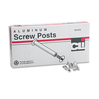 "Post Binder Aluminum Screw Posts, 3/16"" Diameter, 1/2"" Long, 100"