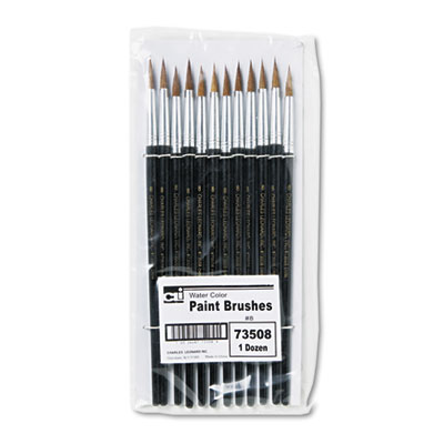 Artist Brush, Size 8, Camel Hair, Round, 12/Pack