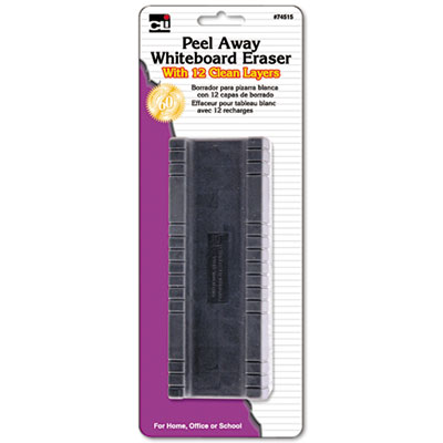 Peel-Away Dry Erase Board Eraser w/12 Disposable Pads, Felt, 5""