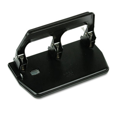 "40-Sheet Heavy-Duty Three-Hole Punch, 9/32"" Holes, Gel Pad Handl"