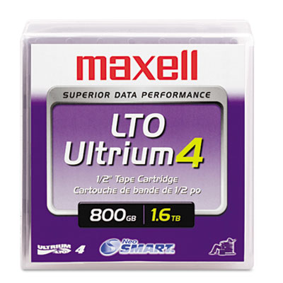 "1/2"" Ultrium LTO-4 Cartridge, 2600ft, 800GB Native/1.6TB Compres"