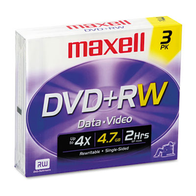 DVD+RW Discs, 4.7GB, 4x, w/Jewel Cases, Silver, 3/Pack