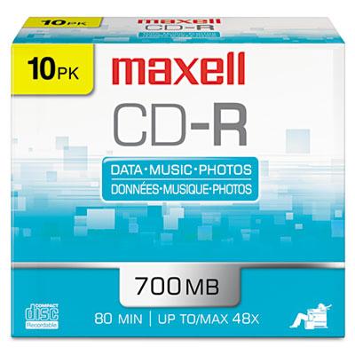 CD-R Discs, 700MB/80min, 48x, w/Slim Jewel Cases, Silver, 10/Pac