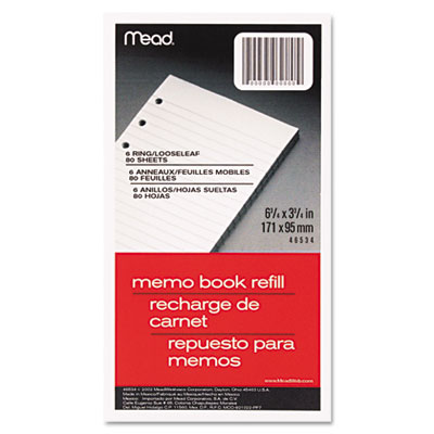 6-Ring Memo Book Refill, College Rule, 6HP, 6-3/4 x 3-3/4, 80 Sh