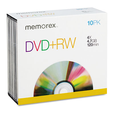 DVD+RW Discs, 4.7GB, 4x, w/Jewel Cases, 10/Pack