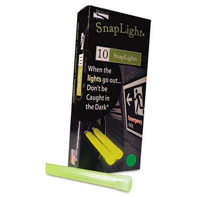 "Snaplights, 6""l x 3/4""w, Green, 10/Pack"