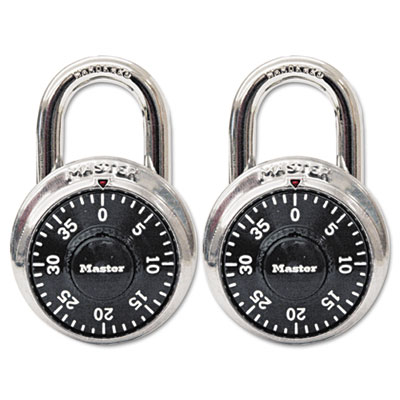 "Combination Lock, Stainless Steel, 1 7/8"" Wide, Black Dial, 2/Pa"