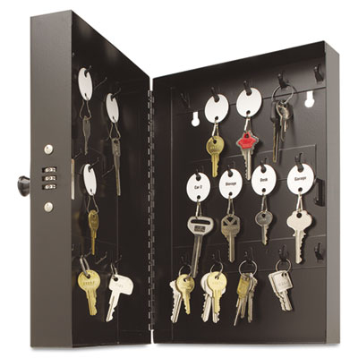 "Hook-Style Key Cabinet, 28-Key, Steel, Black, 7-3/4""w x  3-1/4""d"