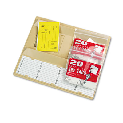 File Drawer Key Rack, 40-Key, Molded Plastic, Sand, 12 x 1 3/4 x