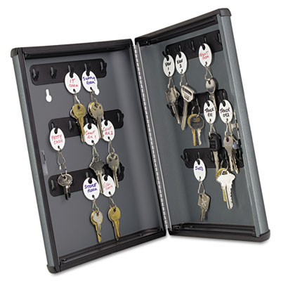 Security Key Cabinets, 30-Key, Steel, Charcoal Gray, 8 1/2 x 2 3
