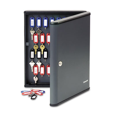 Security Key Cabinets, 60-Key, Steel, Charcoal Gray, 12 x 2 3/8