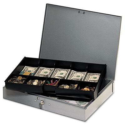 Extra-Wide Steel Cash Box w/10 Compartments, Key Lock, Gray